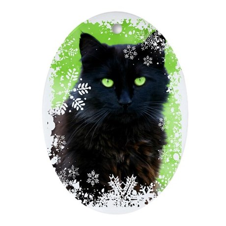 BLACK CAT & SNOWFLAKES Oval Ornament