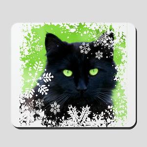 BLACK CAT & SNOWFLAKES Mousepad