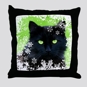 BLACK CAT & SNOWFLAKES Throw Pillow