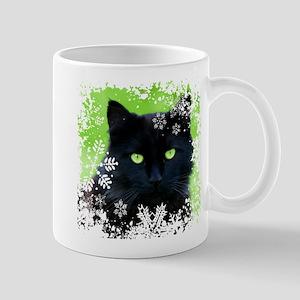 BLACK CAT & SNOWFLAKES 11 oz Ceramic Mug