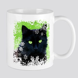 BLACK CAT & SNOWFLAKES Mug