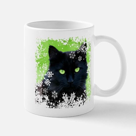 BLACK CAT & SNOWFLAKES Mug