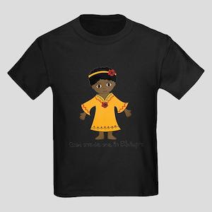 Made Me in Ethiopia-Girl Kids Dark T-Shirt