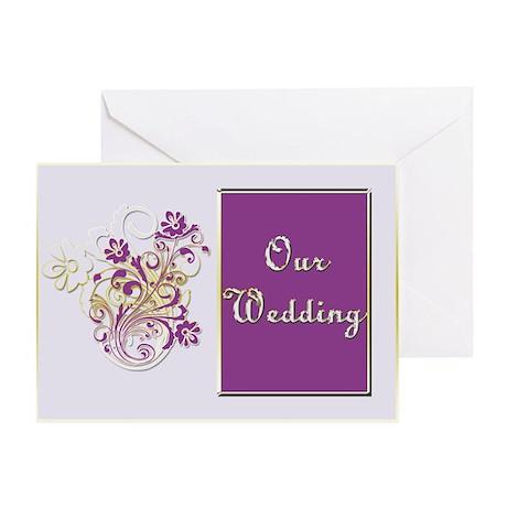 Purple Floral Wedding Invitation Set Greeting Card