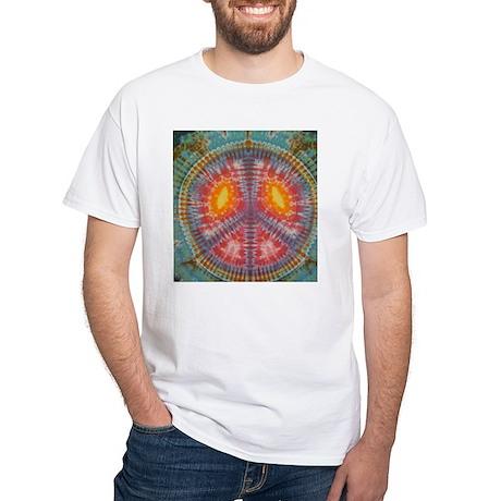 Colorful Tie Dye Peace White T-Shirt