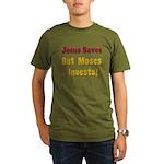 Jesus Saves but Moses Invests Organic Men's T-Shir