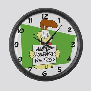 Odie Will Eat Homework Large Wall Clock