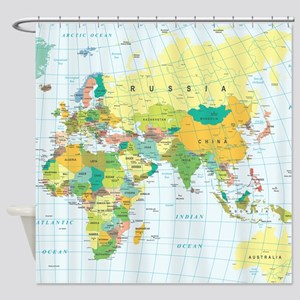 World map bed bath cafepress world map shower curtain gumiabroncs Images