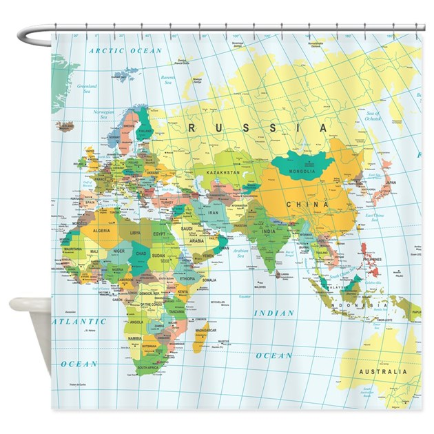 World map shower curtain by admincp119312604 gumiabroncs Choice Image