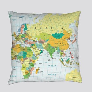 World Map Everyday Pillow