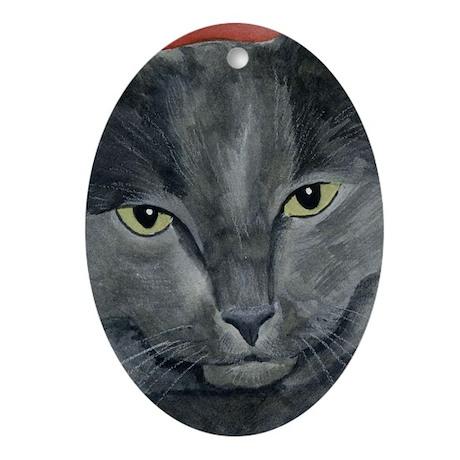 Russian Blue Cat Oval Ornament