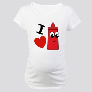 I Heart Ketchup Maternity T-Shirt