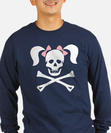 Girl Skull With Pink Bow T
