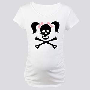 Girl Skull With Pink Bow Maternity T-Shirt