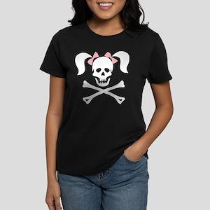 Girl Skull With Pink Bow Women's Dark T-Shirt