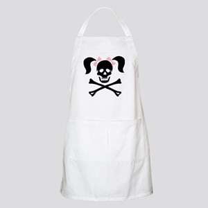 Girl Skull With Pink Bow Apron