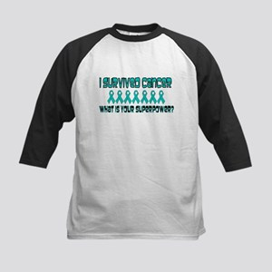 Teal Superpower Kids Baseball Jersey