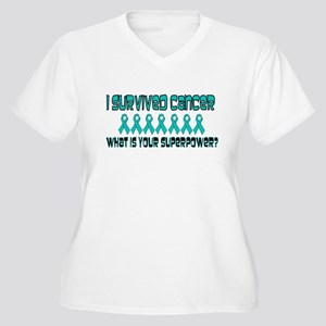 Teal Superpower Women's Plus Size V-Neck T-Shirt