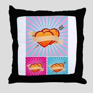 Tattoo Hearts Throw Pillow