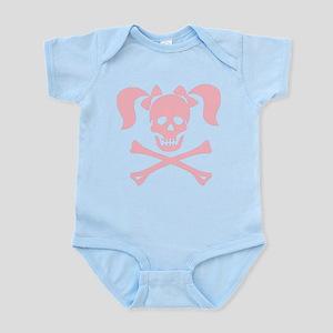 Skull & Cross Bones Pigtails & Bow Infant Bodysuit