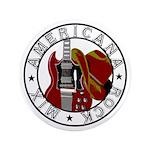 """Cowboy Hat/Guitar - 3.5"""" Button"""