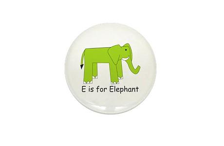 E Is For Elephant Mini Button