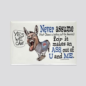 Never Assume Anti Obama Rectangle Magnet