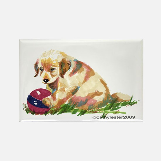 Golden Retriever Puppy with ball Rectangle Magnet
