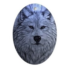 Gray Wolf Ornament (Oval)