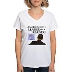 And Barack Obama - Reader not Women's V-Neck T-Shi