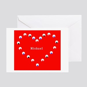 Michael Valentine's Heart Greeting Card Red &