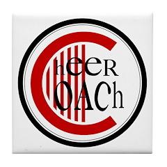 Cheer Coach Circle Red Tile Coaster