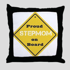 Proud Stepmom on Board Throw Pillow