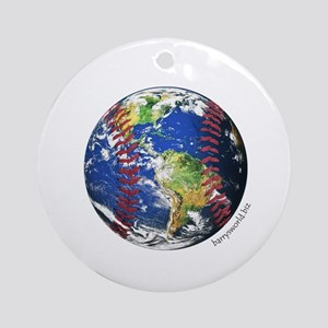 Baseball Earth Ornament (Round)
