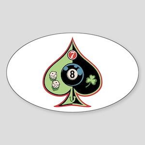 8 of Spades Oval Sticker