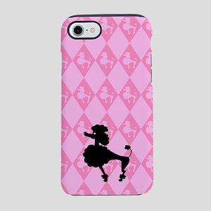 poodle-black-on-pink_ff iPhone 7 Tough Case