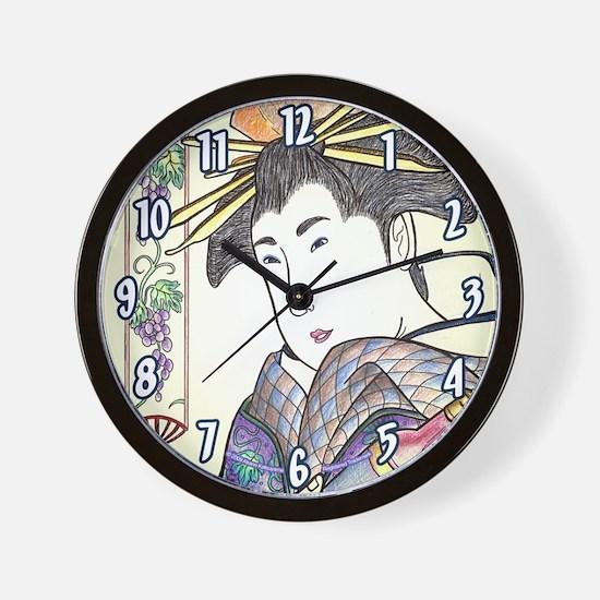 "Japanese Woman ""Binbudo"" - Wall Clock"
