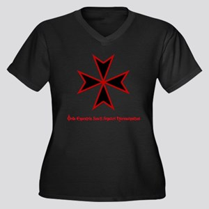 Temple Knight Women's Plus Size V-Neck Dark T-Shir