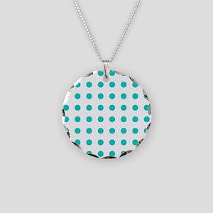Aqua Blue Polka Dots (Revers Necklace Circle Charm