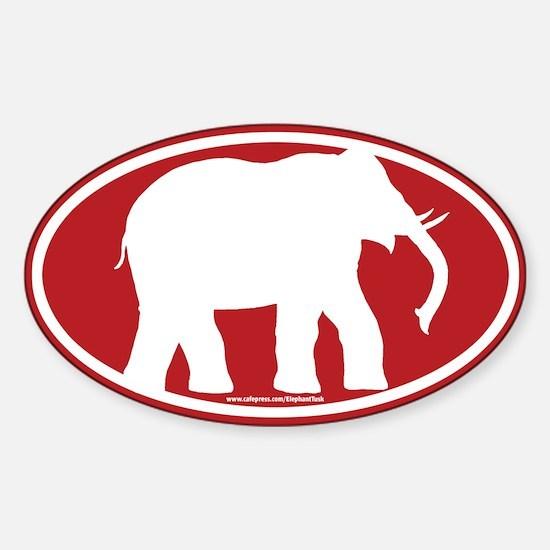 Red Elephant Sticker (Oval)