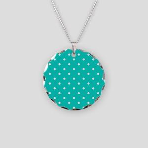 Aqua Blue Small Polka Dots Necklace Circle Charm