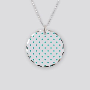 Aqua Blue Small Polka Dots ( Necklace Circle Charm