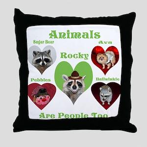 Raccoon and Pomeranian Throw Pillow