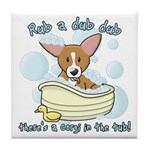 Bathtime Corgi Tile Coaster