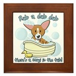 Bathtime Corgi Framed Tile