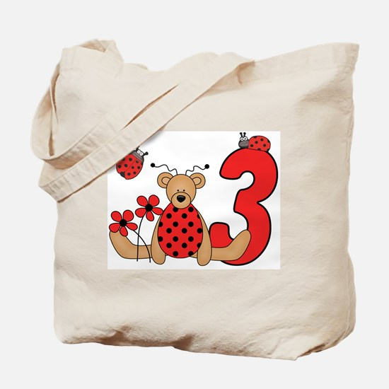 Ladybug Bear 3rd Birthday Tote Bag