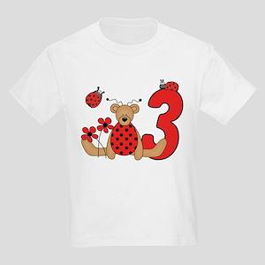 Ladybug Bear 3rd Birthday Kids Light T-Shirt