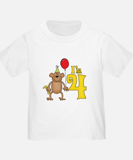 Funny Monkey 4th Birthday T