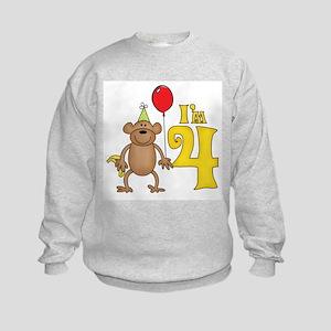 Funny Monkey 4th Birthday Kids Sweatshirt