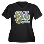 GOat Green Women's Plus Size V-Neck Dark T-Shirt